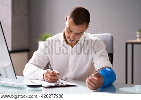 Worker Filling Social Security Benefits And Disability Insurance Compensation Claim