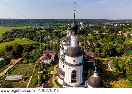 Bell Tower And Cathedral Of The Orthodox Chernoostrovsky Monastery In Maloyaroslavets, Russia, Beaut