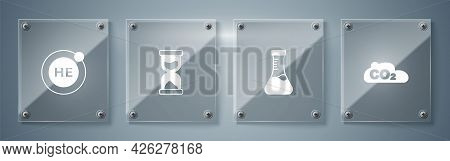 Set Co2 Emissions In Cloud, Test Tube, Old Hourglass And Helium. Square Glass Panels. Vector