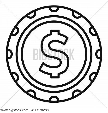 Dollar Chip Icon Outline Vector. Casino Poker Game. Slot Dice Chip