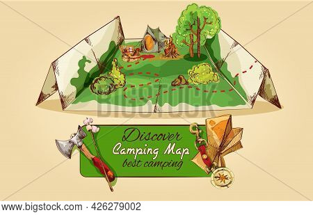Tourist Camping Map Sketch With Axe Tent Campfire Picnic Box  Vector Illustration