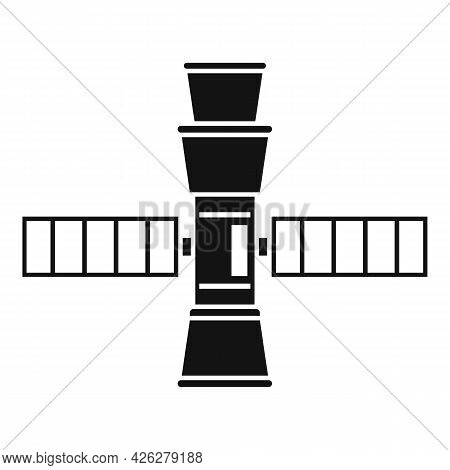 Small Space Station Icon Simple Vector. International Rocket. Solar Space Station