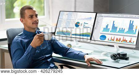 Analyst Man Using Business Data Analytics Dashboard