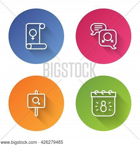 Set Line Feminism, Gender Equality, Feminist Activist And Calendar With 8 March. Color Circle Button