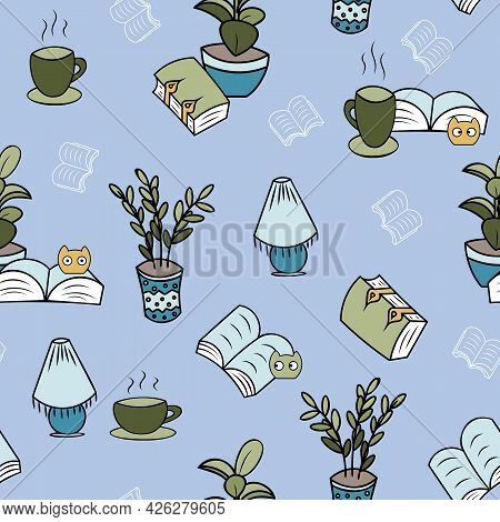 Cosy Reading Plants And Blobs Repeated Pattern