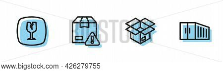 Set Line Unboxing, Fragile Broken Glass, Delivery Security With Shield And Container Icon. Vector