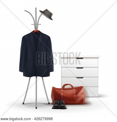 Vector Metal Clothes Rack And White Wardrobe With Hat, Coat, Shoes And Bag Front View Isolated On Wh