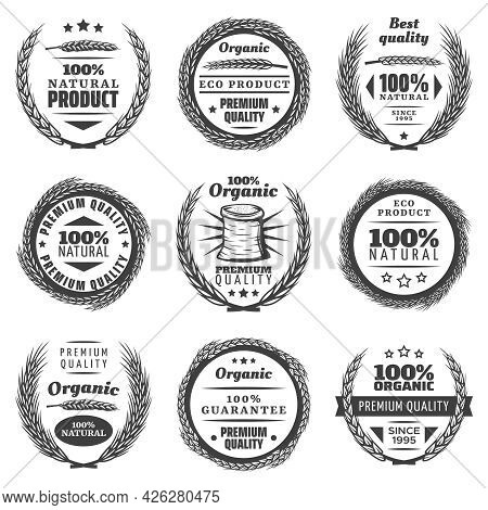 Vintage Premium Cereal Products Labels Set With Letterings Wheat Ears Natural Wreathes In Monochrome