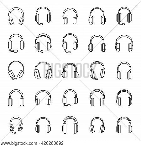 Audio Headset Icons Set Outline Vector. Call Accessory. Cord Headset