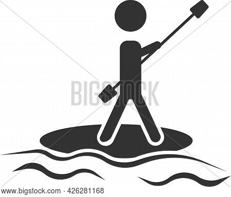 Vector Image Of Rowing On A Standing Board.