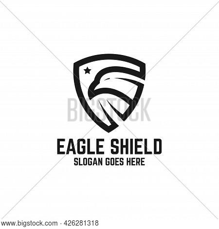 Eagle Hawk Guard With Star Logo Design Vector, Animal Shield With Line Art Logo Inspirations