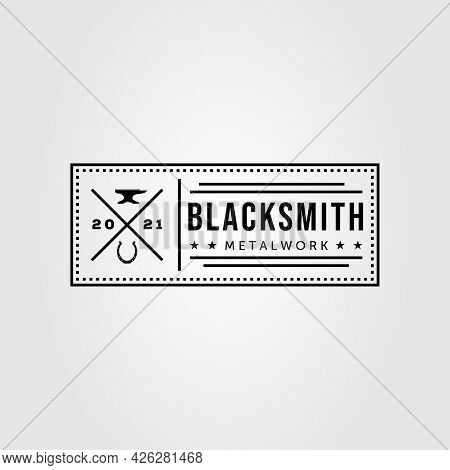 Blacksmith, Anvil And Horseshoe Badge Logo Vector Illustration Design