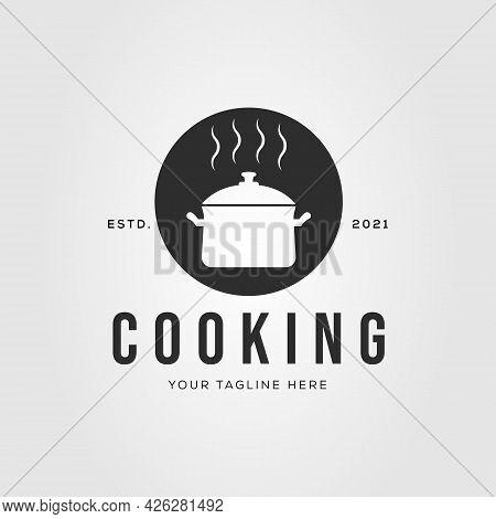 Cookware Cooking Steam Pan Logo Vector Illustration Design