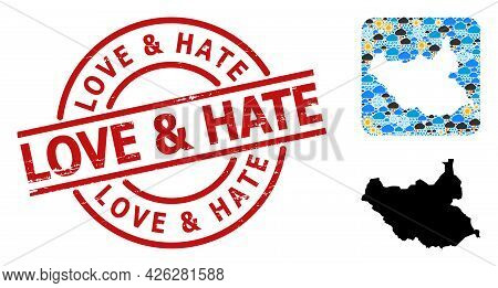 Climate Pattern Map Of South Sudan, And Textured Red Round Love And Hate Stamp. Geographic Vector Mo