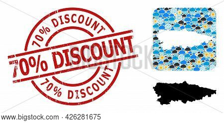 Climate Collage Map Of Asturias Province, And Textured Red Round 70 Percent Discount Stamp Seal.