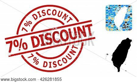 Weather Mosaic Map Of Taiwan, And Scratched Red Round 7 Percent Discount Seal. Geographic Vector Mos