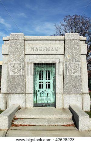 Mausoleum at the Washington Jewish cemetery in Brooklyn, New York