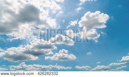 Blue Sky Background With Clouds. Sky With Blue And White Cloud Beautiful Nature Background. Sky With