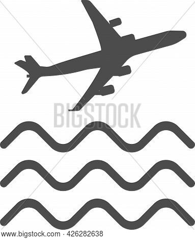 Vector Image Of An Airplane Over Water. Flat Design Of A Vector Icon.