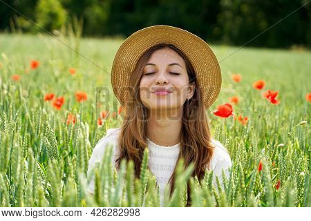 Beautiful Girl Comes Out From Fields Deep Breathing. Woman Rebirth.