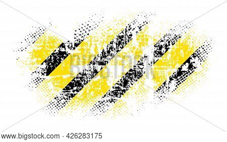 Grunge Halfton, Texture With Shabby Old Stripes In Black And Yellow, Design Flat Style Vector Illust