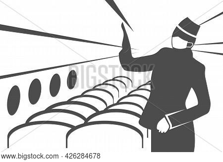 Vector Image Of A Flight Attendant In A Protective Mask.