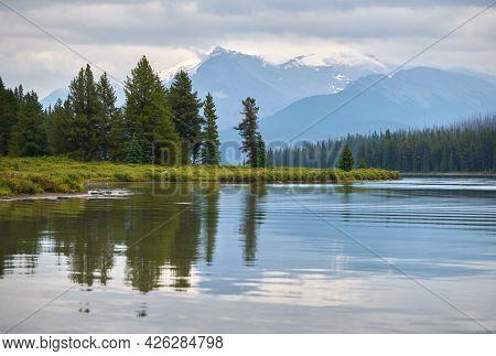 Maligne Lake Jasper National Park. Maligne Lake And The Surrounding Mountains In Jasper National Par