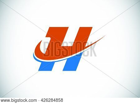 Initial Letter H With Swoosh, Red And Blue Logo Template. Modern Vector Logotype For Business And Co