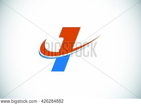 Initial Letter I With Swoosh, Red And Blue Logo Template. Modern Vector Logotype For Business And Co