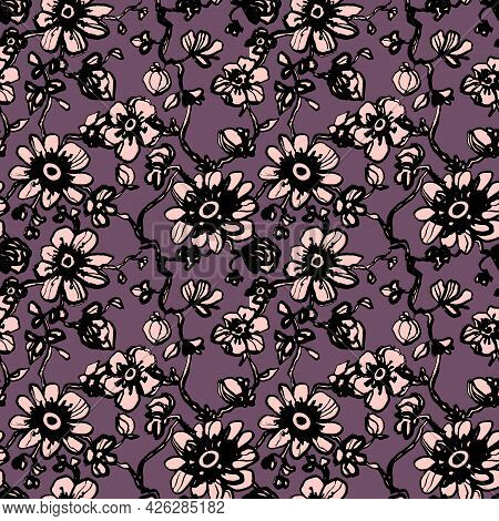 Pink Daisies, Dahlias Flower Seamless Pattern On Purple Background. Daisy Field. Ditsy Floral Patter