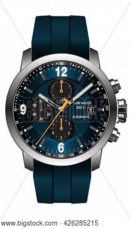 Realistic Clock Watch Blue Grey Face Yellow Arrow White Number On Metal And Rubber Strap Design Mode