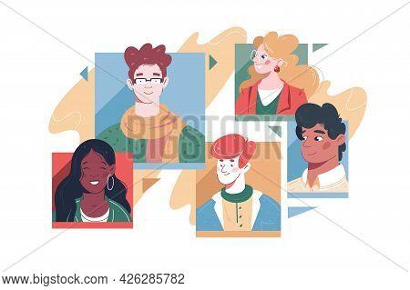 Set Of Different People Avatars Vector Illustration. Diversity Of Men And Women Flat Style. Internet