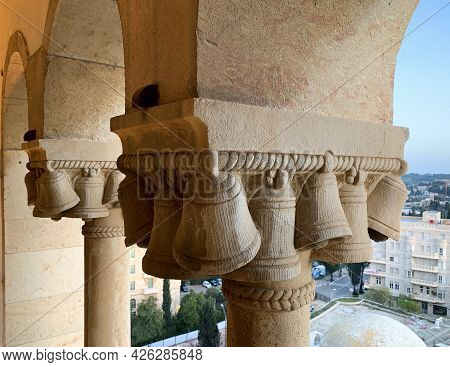 Jerusalem, Israel - March 08, 2021: Floor Decoration With Bells Of The Tower Ymca - Young Mens Chris