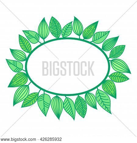 Summer Frame With Green Leaves. Oval Border Made Off Leafage. Minimalistic Seasonal Vector