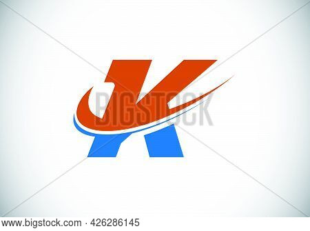 Initial Letter K With Swoosh, Red And Blue Logo Template. Modern Vector Logotype For Business And Co
