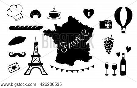 Set Of Silhouettes Maps Of France And National French Symbols. Isolated Elements For Bastille Day Or