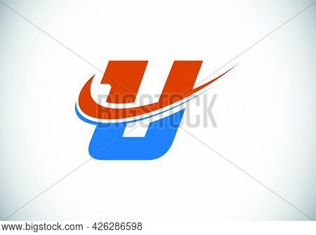 Initial Letter U With Swoosh, Red And Blue Logo Template. Modern Vector Logotype For Business And Co