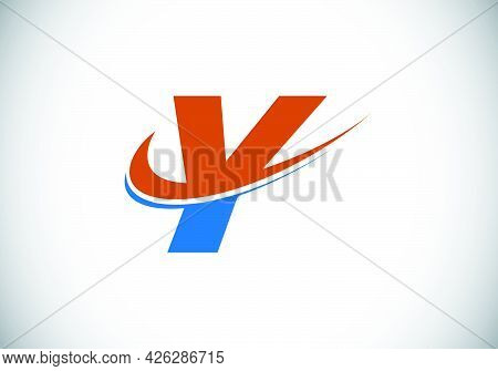 Initial Letter Y With Swoosh, Red And Blue Logo Template. Modern Vector Logotype For Business And Co