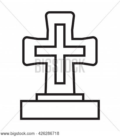 Funeral Icon Vector In A Thin Line Style. Tombstone, Crypt Sign.