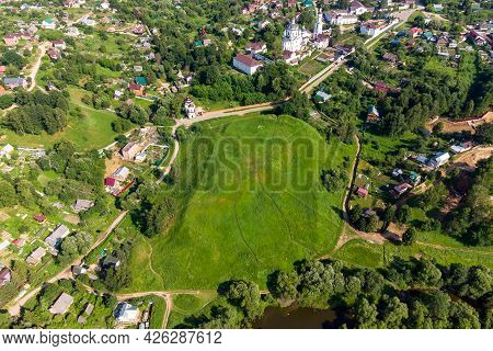 Aerial View Of The Maloyaroslavets Settlement, A Medieval Archaeological Site. Maloyaroslavets, Russ