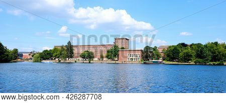 Berlin, Germany, View From Plänterwald Over The River Spree To The Legendary Radio House In Nalepast