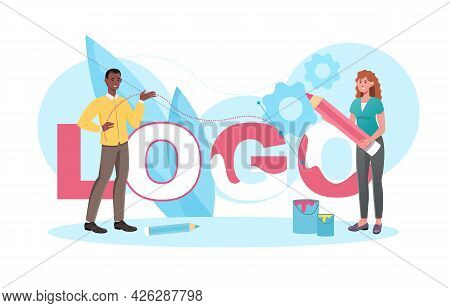 Young Male And Female Characters Are Designing Logo Together In Studio. Concept Of Logo Creation Pro