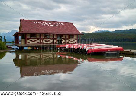 Maligne Lake, Alberta, Canada - August 28, 2018. Maligne Lake Jasper National Park. Maligne Lake Boa