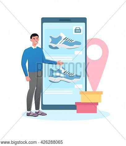 Smiling Male Character Is Selling New Shoes In Footwear Application. Young Man Is Posting New Sneake