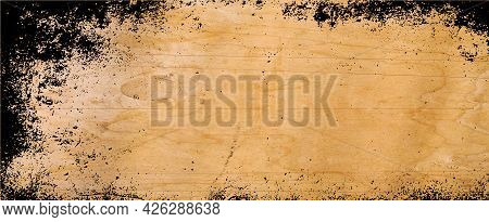 Old Brown Parchment Paper Background With Yellowed Vintage Grunge Texture Borders And Off White Ligh