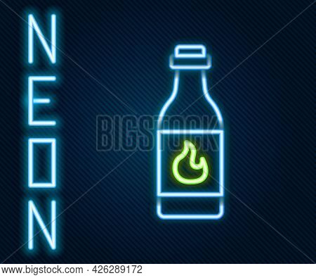Glowing Neon Line Tabasco Sauce Icon Isolated On Black Background. Chili Cayenne Pepper Sauce. Color