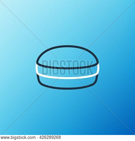 Line Macaron Cookie Icon Isolated On Blue Background. Macaroon Sweet Bakery. Colorful Outline Concep