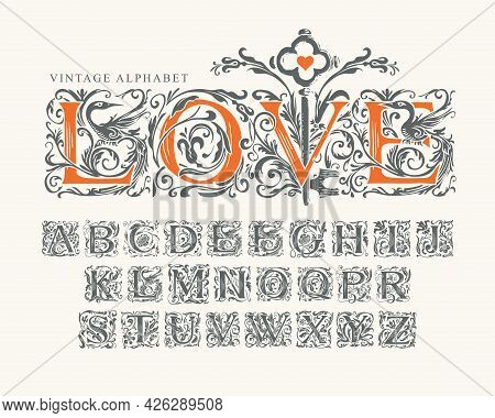 The Word Love Decorated With Old Key. Vector Set Of Hand-drawn Initial Letters On A Light Background