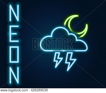 Glowing Neon Line Storm Icon Isolated On Black Background. Cloud With Lightning And Moon Sign. Weath