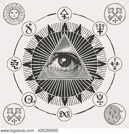 Vector Banner With An All-seeing Eye Of God Inside The Sun, Masonic, Alchemical And Esoteric Symbols